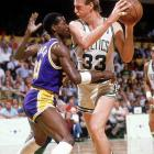 Cooper (pictured guarding Larry Bird) made the All-Defensive team eight times, won the 1987 Defensive Player of the Year award and collected five titles with the Lakers in the 1980s.