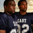 ACHIEVEMENTS: Arthur Jr. (right), a 6'1'', 210-pound linebacker at East High, is Scout.com's No. 1 overall recruit in the class of 2008. Bryce, a 6-foot, 215-pound running back with the Blue Aces, was named EA Sports' national sophomore of the year.<br>ETA: Arthur, now 17, in the NFL by 2011, and Bryce, now 16, in the NFL by 2012.