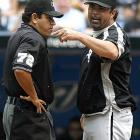 """White Sox manager Ozzie Guillen earned his first ejection of the season on Sunday when he argued Toronto's Lyle Overbay was swinging when he was hit by a pitch and should not have been awarded first base. """"It's not the first time I've been kicked out of the game and it won't be the last."""""""