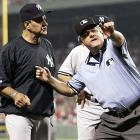 Joe Torre has had a rough season with the Yankees, but his team actually won this game 9-5 over the Red Sox on Friday night when he was ejected. Torre was upset with umpire Jerry Crawford after a caught stealing call on Bobby Abreu in the fifth inning.