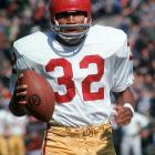 Simpson's 64-yard run against UCLA in 1967 was the most memorable play of one of the most famous games in the sport's history. Simpson rode the momentum from his successful junior year to an even better one the following season, running for 1,709 yards and 22 touchdowns and winning the Heisman.