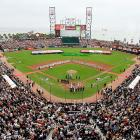 AT&T Park, which opened in 2000, is known for its panoramic views of the San Francisco Bay over the outfield walls.
