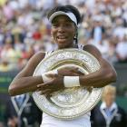 Venus Williams celebrated her fourth Wimbledon title. Her previous championships at the All England Club came in 2000, 2001 and 2005.