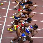 The start of a hurdles semifinal on Tuesday, Day 4.