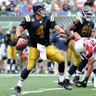 Hobbled by a left ankle injury, Favre accomplished something in his fourth game as a Jet that he didn't accomplish in 16 seasons as a Packer: he threw six touchdown passes in a single game. Favre not only set a career high, but tied Joe Namath's Jets mark with the six scores in New York's 56-35 win over Arizona.