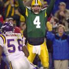 Favre made an improbable heave to Antonio Freeman, who made a juggling catch while on his back, then got up and ran into the end zone for a 43-yard touchdown as the Packers beat the Vikings 26-20 in overtime of a Monday-night game.