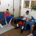 B-Rob and Dre's apartment is the central hangout for the Flyers' basketball team. Tonight, teammates Jimmy Binnie and Mickey Perry come over to catch a Thursday night football game.