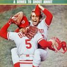 Will McEnaney and Johnny Bench celebrated the last out of their Game 7 victory against the Red Sox at Fenway Park.
