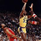 Johnson and Bird turned out to be one-man home makeover shows for the NBA's two marquee franchises. The Celtics shot from 29 victories to 61 in 1979-80 and Bird was voted Rookie of the Year. But Johnson topped him again, helping the Lakers from 47 victories to 60, then being named MVP of the Finals. He capped his Magical season with 42 points, 15 rebounds and seven assists, subbing at center for injured Kareem Abdul-Jabbar in the clinching Game 6 at Philadelphia.