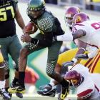 Not only did the Ducks boost their resume for the national title race, but they most likely knocked the Trojans out of contention. Heisman Trophy candidate Dennis Dixon (pictured) passed for 157 yards and rushed for 76 yards and a touchdown.