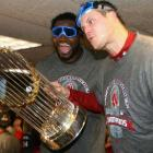 David Ortiz and Jonathan Papelbon enjoy the good times as they pose for a picture.