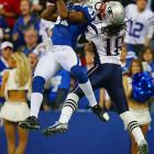 Antoine Bethea intercepts a pass intended for Donte' Stallworth at the Colts' 2 late in the first half.