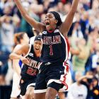 There is a lot to be said for women's basketball. The players aren't as athletic; don't jump as high or run as fast, but they play as a more integrated unit than many men's teams do. Here, Maryland forward Crystal Langhorne celebrates her team's upset win over Duke for the national championship in 2006.