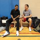 Between games, Obama describes his deep basketball jones. Asked how it felt the first time he dunked on a 10-foot basket, he says, ''That was big. Sixteen [years old]: I still remember the day that it first happened, one of those magical days when you're just in a zone... I was on the single-A team, and at the end of practice I was just raining down threes; I went and took a half-court shot and it went in. This friend of mine, Larry Tavares -- I still remember, but of course he wouldn't -- he was shagging balls for me and I said, 'You know what? I bet I can dunk today; I'm feeling good.' and I took it and went.... (he mimics throwing a ball down). I did it about two more times, and that was about it.''