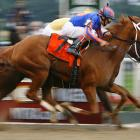 Rags to Riches (No. 7) beat Curlin by a head to become the first filly to win the Belmont since 1905.