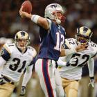The Patriots entered the game with a second-year quarterback no one quite trusted, Tom Brady, and a group of veterans with very few Pro Bowl appearances among them. The Rams had one of the most prolific offenses ever and looked unstoppable. But Brady led New England to a 20-17 victory in the Superdome.