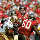 Johnson returned from a late-season back injury to throw for 196 yards and a pair of touchdowns in a 31-6 stomping of the 49ers in the divisional round. The following week, the journeyman overcame frigid conditions and a hostile crowd in leading Tampa Bay to a surprising upset of the Eagles in their final game at Veterans Stadium. Johnson tossed for more than 200 yards and a pair of touchdowns in Tampa's victory over the Raiders in Super Bowl XXXVII.