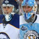"Ryan Miller donned a toque, fashioned out of a hockey sock, on top of his mask, while Ty Conklin featured snowflakes and a Winter Classic theme on his mask. Miller and Conklin both had one game of experience playing a major outdoor hockey game, but neither owned a victory. Miller earned a 3-3 tie for Michigan State against Michigan in the 2001 ""Cold War"" game in front of 74,554 fans at Spartan Stadium. Conklin took the loss in host Edmonton's 4-3 defeat to Montreal on Nov. 22, 2003, during the NHL's first outdoor game, which drew 57,167."