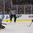 Ty Conklin makes the save on Tim Connolly during Buffalo's second shootout attempt.