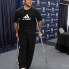 Working his way back from elbow surgery, Chamberlain suffered an open dislocation of his right ankle while playing with his 5-year-old son on a trampoline.