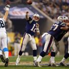 The second of Brady's four Super Bowl appearances found the 26-year-old quarterback at his offensive peak. New England's signal-caller completed 32 of his 48 attempts for 354 yards and three touchdowns on his way to MVP honors. But victory over the plucky Panthers wasn't secured until Brady directed a 37-yard drive in the final minute of regulation to put the Patriots into position for Adam Vinatieri's game-winning field goal.