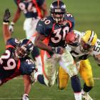 Vegas installed the Broncos as 11-and-a-half-point underdogs against the reigning league champions on the eve of Super Bowl XXXII -- but someone forgot to deliver the script to the Denver locker room. Davis ran for 157 yards and a record three rushing touchdowns against the vaunted Green Bay defense. His third score gave the Broncos a permanent 31-24 lead, securing the Mile High City's first-ever championship.