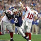 Eli Manning (10) led the Giants on a 16 play, 63-yard drive on their first possession. It was the most plays of any opening drive in a Super Bowl.