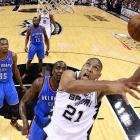 With their victory against Oklahoma City in Game 2 of the 2012 Western Conference finals, the Spurs set an NBA record for longest winning streak bridging the regular season and playoffs. That marked their 10th consecutive win to open the playoffs, on the heels of a 10-0 regular-season finish. (San Antonio lost Game 3 to the Thunder.) Tim Duncan and Co. also had two separate 11-game winning streaks during the regular season, when they used their venerable Big Three, young role players and the league's top offense to tie Chicago for the best record at 50-16.