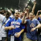 Kansas fans celebrate after the Jayhawks' national championship victory.