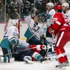 The Wings, who have suffered their share of opening-round misfortune during the past 14 years, were swept by the seventh-seeded Mighty Ducks of Anaheim, who eventually reached the Cup Final on the wings of J-S Giguere's airtight goaltending. Making his playoff debut, Giguere (1.24 GAA) stymied the defending Cup champs as the Ducks won all four games by one goal.