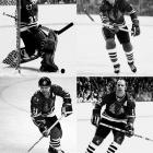 With 1961 Cup-winner Stan Mikita (bottom-left) still in the fold, the Blackhawks boasted Keith Magnuson (top-right), Dennis Hull (bottom-right) and future Hall of Famer Tony Esposito (top-left) in goal, and were the best regular season team in their conference four times. They made two appearances in the Cup final, losing each time to Ken Dryden's Canadiens -- in 1971 after blowing a 2-0 lead in Game 7, and in six games in 1973.