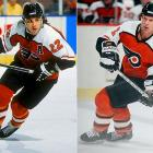 As the holdovers from the 1974 and '75 Cup teams (Bobby Clarke, Bill Barber) vanished, a promising nucleus of Mark Howe (right), Rick Tocchet (left), Ron Hextall, Brian Propp, Tim Kerr, Behn Wilson, Brad McCrimmon, Pelle Lindbergh, and Dave Poulin had the misfortune of running into the dynastic Edmonton Oilers in the 1985 and 1987 Stanley Cup finals, falling both times, the second in seven gallant games with Hextall winning the Conn Smythe.
