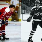 Hall of Fame winger Mike Gartner (right) and center Bobby Carpenter (left) fronted a stellar defensive corps included Rod Langway, Scott Stevens, and Larry Murphy. Despite three successive 100-point seasons, coach Bryan Murray's crew inevitably became the Washington Generals against the Islanders' Harlem Globetrotters, with New York preventing the Capitals from getting out of the Patrick Division each time.