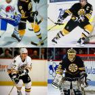 Boston's impressive cast included Cam Neely (top-left), Ray Bourque (top-right), Andy Moog (bottom-right), Craig Janney, Bobby Carpenter, and Dave Christian (bottom-left). With Terry O'Reilly as coach, they reached the 1988 Cup final only to be swept by Wayne Gretzky's Oilers. A rematch with Edmonton in 1990 did not go much better. Mike Milbury's club fell in five.