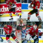 Iron Mike Keenan's rosters included such luminaries Denis Savard, Jeremy Roenick (top-left), Chris Chelios (bottom-left), Steve Larmer (top-right), Doug Wilson, and Ed Belfour (bottom-right). After winning the Presidents' Trophy in 1990-91, the Blackhawks were swept in the 1992 Cup Final by Mario Lemieux's Penguins. A 106-point campaign in 1992-93 ended with a bitter first-round sweep by St. Louis and proved to be the Blackhawks' swan song.