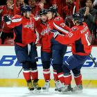After Alex Ovechkin's arrival in 2005, the Capitals began to ascend to the status of Stanley Cup contender, winning the Presidents Trophy for the NHL's best regular season record for 2009-10. But even with an offensively potent supporting cast that includes winger Alexander Semin, center Nicklas Backstrom and defenseman Mike Green, the Caps have so far met with postseason disappointment: a seven-game loss to the rival Penguins in the 2009 Eastern Conference semi-finals, a shocking seven-game 2010 first-round upset by Montreal during which Washington blew a three-games-to-one lead, and being swept out of the 2011 conference semi-finals by the Lightning.