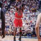 It's the most famous push in NBA history: Michael Jordan driving two his right, dribbling twice, and nudging Utah's Bryon Russell with his left hand. He then calmly sank a game-winning jumper with 5.2 seconds left to lift the Bulls over the Jazz. The shot gave the Bulls their sixth title in eight years.