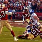 The 49ers rallied from a 24-point deficit to take a 39-38 lead on the Giants late in the fourth quarter. With time expiring, the Giants tried a field-goal but a low snap muffed the attempt. Holder Matt Allen scrambled and threw a pass downfield to offensive lineman Rich Seubert, who was interfered with and the pass fell incomplete. Later, the NFL admitted that the play should have resulted in offsetting penalties and New York should have been given another play.
