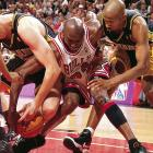 Trailing in the fourth quarter of their first Game 7 in six years, the Bulls overcame Indiana 88-83 behind Michael Jordan's 28 points. The Bulls went on to beat the Jazz in the NBA Finals to complete their second three-peat.