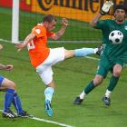 A beautifully executed Dutch counterattack swept the length of the field, setting the table for Sneijder's clinical right-footed finish past Italian goalkeeper Gianluigi Buffon. The 31st-minute goal opened a 2-0 lead for Holland, which went on to end its 30-year victory drought against Italy with an emphatic 3-0 result.