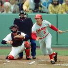 In the last game ever played at Crosley Field, Lee May and Johnny Bench hit back-to-back home runs in the eighth inning to give the Reds a 5-4 win.