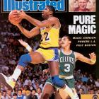 "In one of the most memorable moments in Finals history, Magic Johnson won Game 4 with what he called his ""junior, junior, junior sky hook. That victory in Boston gave the Lakers a 3-1 lead; they wrapped it up two games later in Los Angeles, where 39-year-old Kareem Abdul-Jabbar scored 32 points and Magic closed with 16 points, 19 assists and eight rebounds. Johnson became the fourth player to win the regular-season and Finals MVP awards."
