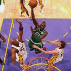 Boston eliminated Los Angeles with a 131-92 home rout in Game 6, and Paul Pierce staged a miraculous return from an apparent knee injury for Game 1 at the new Garden. But the defining moment occurred at the Staples Center, as the Celtics rallied from 24 down to win Game 4 -- the largest comeback victory in the Finals since 1981 -- and grab a commanding 3-1 series lead.