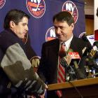 """After two successive playoff appearances, Milbury stunned the Islanders' faithful by canning coach Peter Laviolette in May 2003. Going on the Mike & The Mad Dog sports talk radio show, Milbury was hit by a pointed question from host Chris Russo (inset): """"How are you still the GM?!"""""""