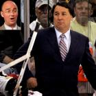 Milbury's next stop: the broadcast booth. A commentator for NBC, he often spars with fellow broadcasters Pierre McGuire (inset) and Jeremy Roenick. His infamous 1979 shoe incident was revisited between periods of the inaugural Winter Classic game broadcast from Buffalo on New Year's Day 2008.