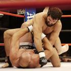 Though the fight went to the ground near the end of the first round, Arlovski (top) put away Rothwell with a right hand, followed by an uppercut for a KO victory at 1:13 in the third round.