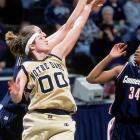 For three consecutive seasons (1998, 1999, 2000), Riley was named Big East Defensive Player of the Year. During her 2001 senior season, the center, now a member of the Chicago Sky, led ND to the NCAA Championship and won the Naismith Award and Most Outstanding Player of the Final Four. She was also a two-time first-team All-American and set the school record for rebounds, blocked shots and shooting percentage.