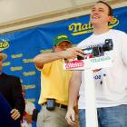 Prior to the food-fest, Joey Chestnut stepped on the scale, weighing in at 210 pounds.