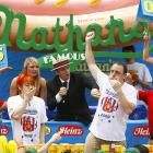 "But, after a five-dog death march, Joey ""Jaws"" Chestnut came away victorious, leaving six-time champion Kobayashi with an empty feeling. (Well, not really.) The American champ downed his svelte Japanese foe after engulfing a nauseating 64 hot dogs."