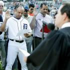 Detroit Tigers' infielder Placido Polanco and 99 others were sworn in as U.S. citizens before Wednesday's game against the Indians at Comerica Park.